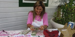 Carol Gelacek counting the money!!