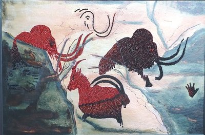 06-paleo-1-2002-rosary-pea-acrylic-on-canvas-by-charles-dauray