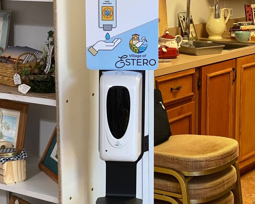 Hand sanitizer stations now available in cottage and schoolhouse